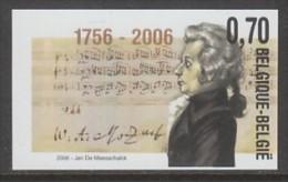 """3470   ONGETAND   """"Mozart, Muziek, Musique""""  Cote 20,00 Euro - No Dentado"""