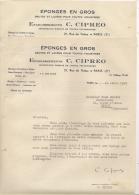 Facture Ou Document Commercial -  Lot De 2 - Etablissements C. CIPREO  - Eponges En Gros   à Paris - Other