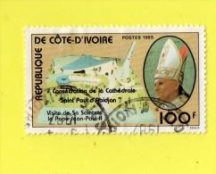 COTE D'IVOIRE ,, ,,,** 100  F. **,,, VISITE DU PAPE  JEAN PAUL II,,, 1985,,,DOUBLE CACHET ROND ,,TBE - Ivory Coast (1960-...)