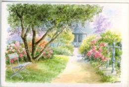 D.Lebeau  D´après Aquarelle Originale  Belle Allée De Jardin Fleuri Menant Au Kiosque  TBE - Autres Illustrateurs