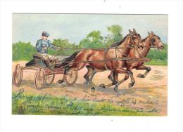 CPA Fantaisie CHEVAUX De COURSE Gaufrée Relief Dorée Embossed - Cheval Jockey Sport Equitation Sulky à 4 Roues - Künstlerkarten