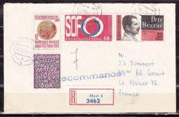 Einschreiben Reco, MiF Bezruc U.a., Most Nach Le Vesinet, AK-Stempel 1967 (42368) - Storia Postale