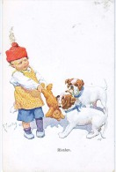 AK HUNDE DOGS  DEUTCHER BOXER DEUTSCHER BULLDOGG BULLY ,SIGNIERT KARTE K.FEIERTAG,B.K.W.I. 453-3.,OLD POSTCARD - Chiens