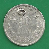 = ROMANIA - 50 BANI - 1876  - SILVER  # 55 = - Roumanie