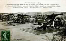 CPA THEME MILITARIA CANONS DE SIEGE DE 120 LONG 1908 LIB GUERIN MOURMELON - Matériel