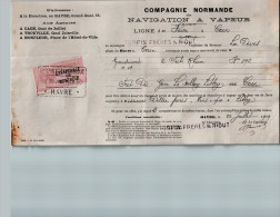 Entête Du 22/07/1929 COMPAGNIE NORMANDE - Navigation à Vapeur - Havre - Transports