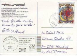 189d: Hundertwassermarke Auf AK Hundert Bad Fischau, Bedarfspost (Postkarte Portogerecht) - Modern