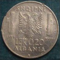 M_p> Regno Vitt Eman III° Colonia D´Albania 0,20 Lek 1939 XVIII Leggermente Magnetico - Albanie