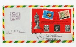 Bolivie 1980-Timbres Sur Timbres-R Hill-MI B94 Sur Lettre FDC Envoyée Vers L'Allemagne - Rowland Hill