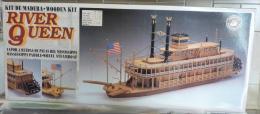 Maquette Bois  Bateau à Roues Wheel Steamboat River Queen  USA à Monter - Boats
