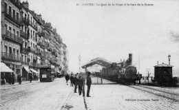 NANTES  -  Le Quai De La Fosse Et La Gare De La Bourse  (Tramway -  Train Vapeur) - Nantes
