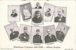CPA Illustrée Signée  Militaria Armée   AFFAIRE DREYFUS ( Judaïca )  PORTRAITS  République Française 1894/1898 - Evènements