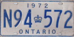 KENTEKENPLAAT CANADA ONTARIO 1972 N94 572 - Number Plates