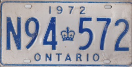 KENTEKENPLAAT CANADA ONTARIO 1972 N94 572 - Nummerplaten