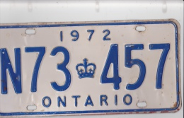 KENTEKENPLAAT CANADA ONTARIO 1972 N73 457 - Nummerplaten