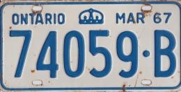 KENTEKENPLAAT CANADA ONTARIO 1967 74059.B - Nummerplaten