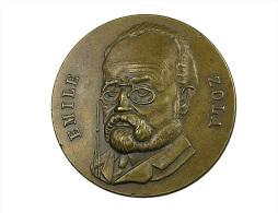 France -  Emile Zola - Médaille Uniface - Bronze - 40mm - 24,24 Gr. - TTB - Professionals / Firms