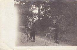 RP Postcard Two Edwardian Gentlemen & Bicycles Real Photo Cycle Bike - Cartoline