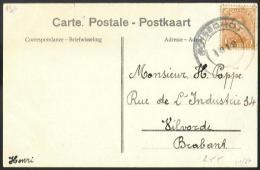 Belgique - obl.fortune 1919 - n�135 sur carte obl.BOISSCHOT (Booischot) - verso Travaux des charbonnages