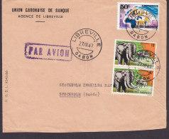 Gabon Airmail Par Avion UNION GABONAISE DE BANQUE, Deluxe LIBREVILLE 1967 Cover Lettre Sweden Map Landkarte Elephant - Gabun (1960-...)