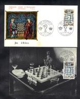 FRANCE, 1 FDC + 1 CARTE MAXIMUM, JEU D' ECHECS 1966.  (3F159)