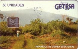 GUINEE EQUATORIALE PAYSAGE LANDSCAPE 50U SC5 9N° ROUGES RED UT - Guinée-Equatoriale