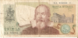 BILLETE DE ITALIA DE 2000 LIRAS DEL AÑO 1983  GALILEO  (BANKNOTE) - [ 2] 1946-… : República