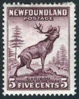 Newfoundland #190 Mint Hinged 5c Caribou (die I) From 1932 - Newfoundland