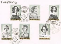 Antituberculeux Reines Des Belges (1233 à 1238) Sur Carton D´invitation  Avec Oblitération Spéciale - Belgium