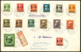 1920 18 Mar.Lettera Raccomandata Da Ingbert Per Saarbrucken Affrancata Con 14 Valori Luigi III Soprastampati Sarre -DBG1 - Unclassified