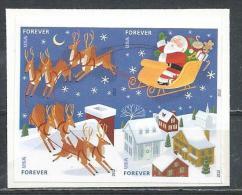 USA. Scott # 4712-15c, MNH Block Of 4 Imperforate. Christmas Santa & Sleigh. 2012 - 1981-...