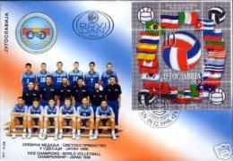 Yugoslavia 1998 Volleyball World Championship, Japan, Flags, Block, Souvenir Sheet FDC - Volley-Ball