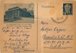 Postkarte  Nach USA  MiNr P47-06  Dessau - Landestheater - Postales - Usados