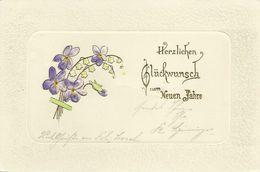 AK Neujahr New Year Veilchenstrauß Gold- & Prägedruck Passepartout 1906 #77 - New Year