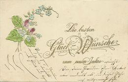 AK Neujahr New Year Schriftzug Rosen Veilchen Gold- & Prägedruck 1904 #79 - New Year