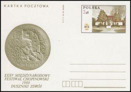 "Poland 1980, Postal Stationery ""XXXV International Chopin Festival In Duszniki"", Cp 763, Mint - Interi Postali"