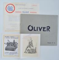 Pubs Machines A écrire OLIVER TYPEWRITYER Co Ltd - Catalogue 8 Pages + Docs 1930 - 45X4 - Publicités