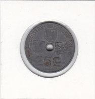 25 CENTIMES Zinc Léopold III 1942 FL/FR - 1934-1945: Leopold III