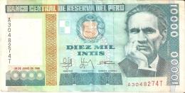 BILLETE DE PERU DE 10000 INTIS DEL AÑO 1988 (BANKNOTE) - Perú