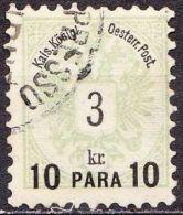 Osterreich / Austria 1888 Wappenzeichnung Mi. 45 Mit Einziligem Aufdruck 10 Para / 3 Kr. Grün Mi.15 - Eastern Austria