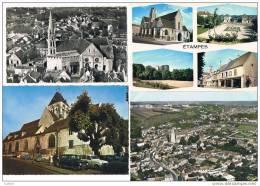 ETAMPES .91.vue Aerienne+eglise +souvenir.lot De 4 Cartes.jolies Vues. - Etampes