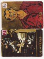 Manualidades, Dos Cartulinas De Pintores (Velázquez Y Miró) - Cromos