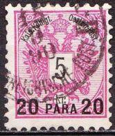 Osterreich / Austria 1888 Wappenzeichnung Mi. 46 Mit Einziligem Aufdruck 20 Para / 5 Kr. Rot Mi.16 - Levant Autrichien