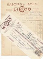 PARIS  - Facture + Traite -  Rasoirs & Lames Le Coq - 1935 - France