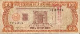 BILLETE DE REP. DOMINICANA DE 100 PESOS ORO DEL AÑO 1988 CON RESELLO DEL BANCO (BANKNOTE) - República Dominicana