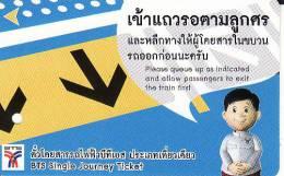 Thailand BTS Card  Ticket  Comic People  Yellow  Arrow - Eisenbahnen