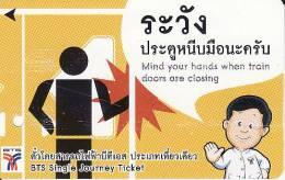Thailand BTS Card  Ticket  Comic People  Black  Arrow - Eisenbahnen