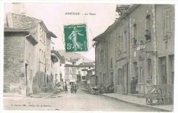 CPA : AMBERIEU - LA POSTE - ANIMEE - A CIRCULE - 1909 - - Autres Communes