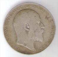 GRAN BRETAGNA HALF CROWN 1909 AG SILVER - 1902-1971 : Monete Post-Vittoriane
