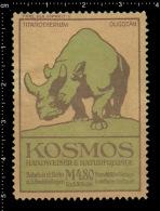 Original German Posterstamp Cinderella Reklamemarke Kosmos - Prehistoric Animals Titanotherium Dinosaurs Megacerops - Stamps